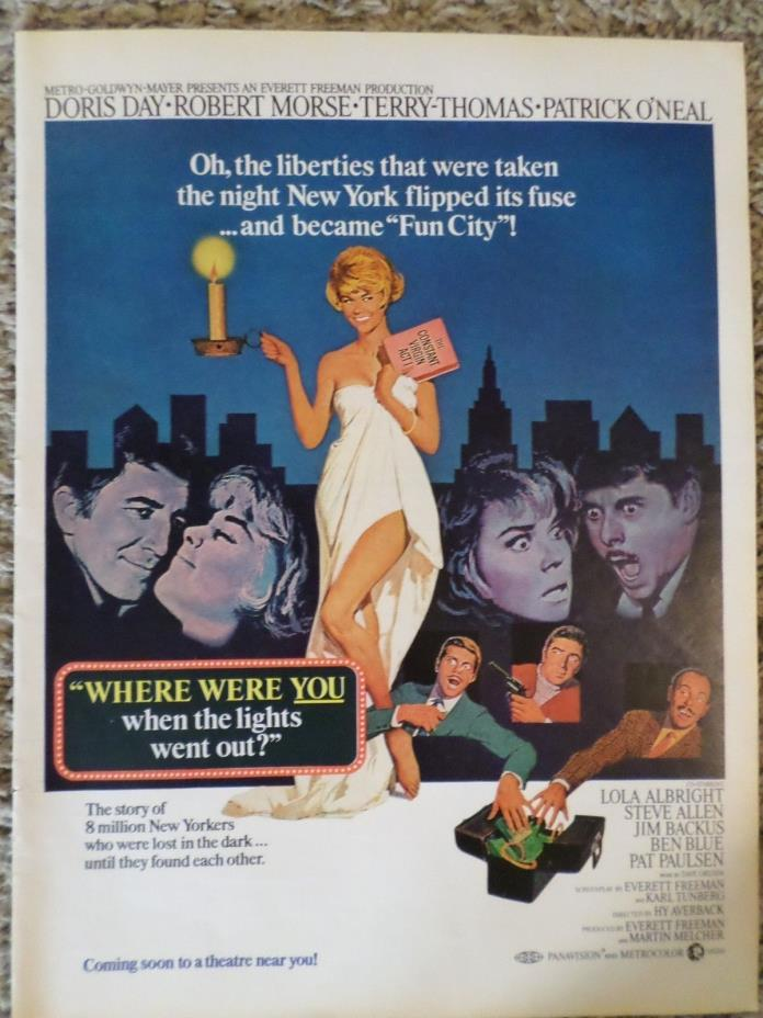 1968 Where Were You When the Lights Went Out Movie Doris Day Photo Magazine AD