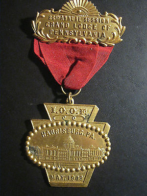Antique 1909 86th I.O.O.F Grand Lodge of Harrisburg, PA. Medal Badge Ribbon Pin