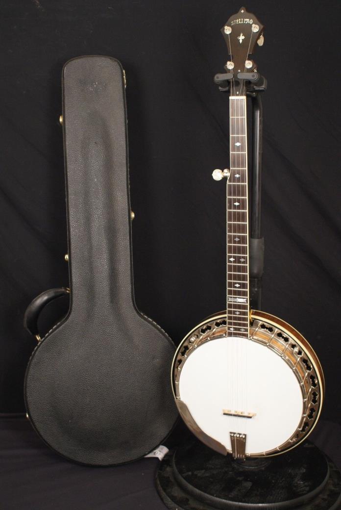 1983 Stelling Whitestar 5 string banjo all original with hardshell case