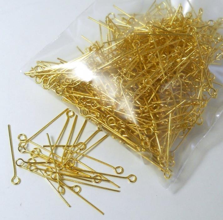 Rockin Beads Brand, 500 Gold Plated Brass Jewelry Eye-rosary Pins 1 Inch 22 Guag