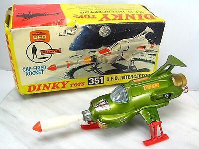 DINKY TOYS UFO INTERCEPTOR 351 Working w/ BOX England MECCANO Gerry Anderson TV