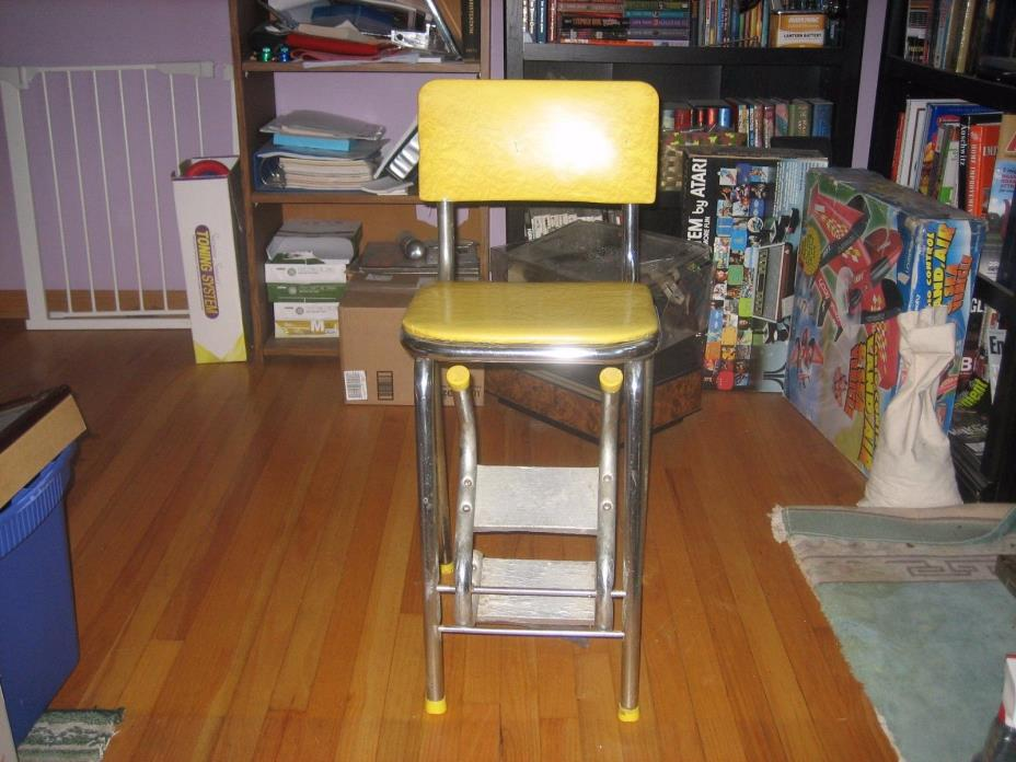 Vintage Mid Century Retro Kitchen Chair Pull Out Step Stool Atomic Age