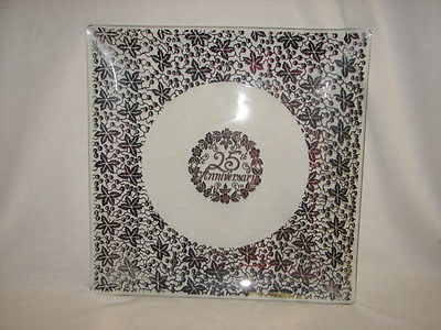 HUGE 25 th Anniversary Sterling Silver Overlay Crystal TRAY - 25 th Anniversary
