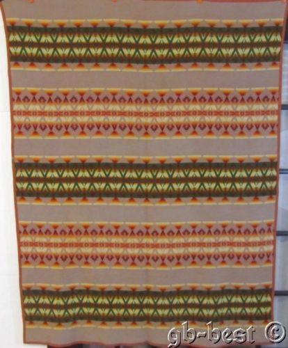 EARLY Antique Indian Blanket Pendleton RACINE red green orange