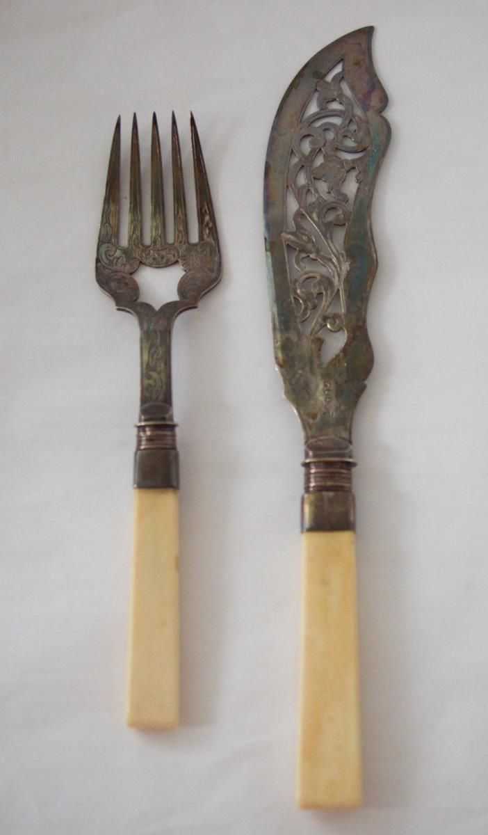 Antique Silverplate  Brite Cut Fish Set - Server &  Fork