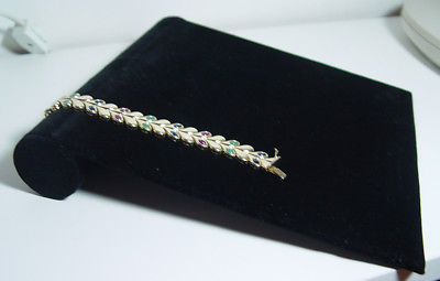 Lot of 8 Black Jewelry Velvet Bracelet Necklace Ramp Display with Elastic Holder