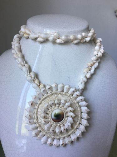 Vintage Handmade Shell and OPERCULUM Shell Necklace