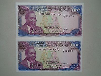 1978 KENYA 100 SHILLING BANKNOTES***JOMO KENYATTA***UNC.***LOT OF TWO NOTES***