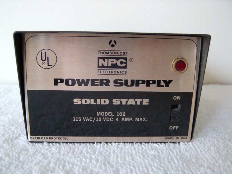 NPC POWER SUPPLY MODEL 102 - 115 VAC / 12 VDC / 4 AMP
