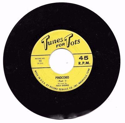 Pinocchio 45 Record Tunes for Tots Paula Goodroe Record Service Cio USA