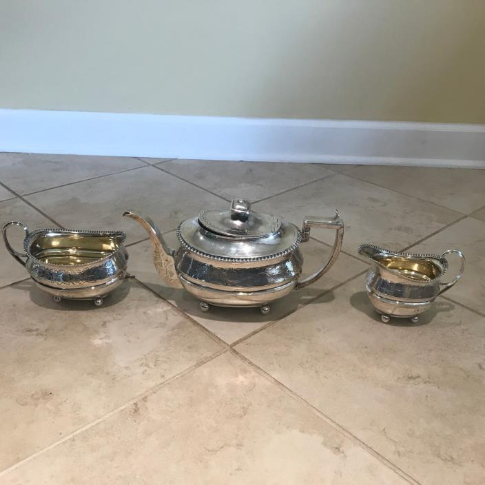 Antique Edinburgh Scottish William Auld George III Sterling Silver Tea Set