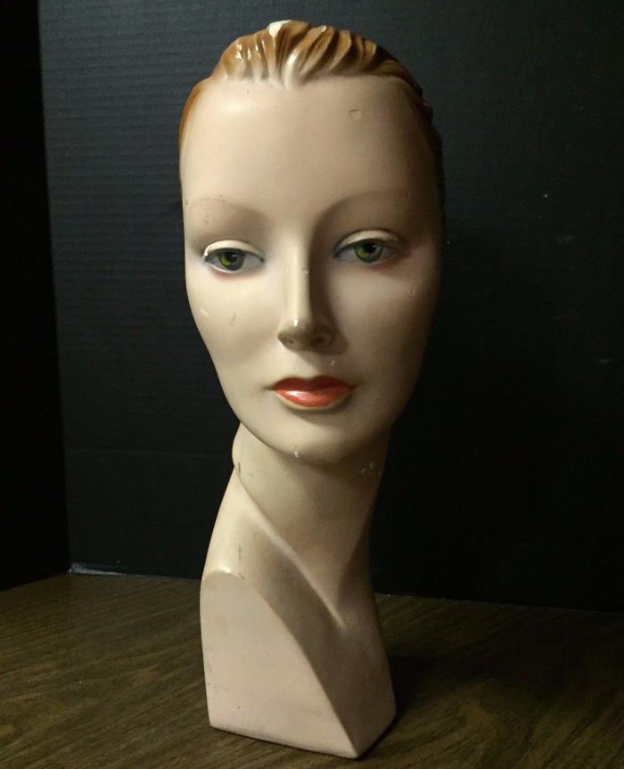 Art Deco Mannequin Head Ladies Hats Home Decor Chalk Plaster Fashion 1920-30s