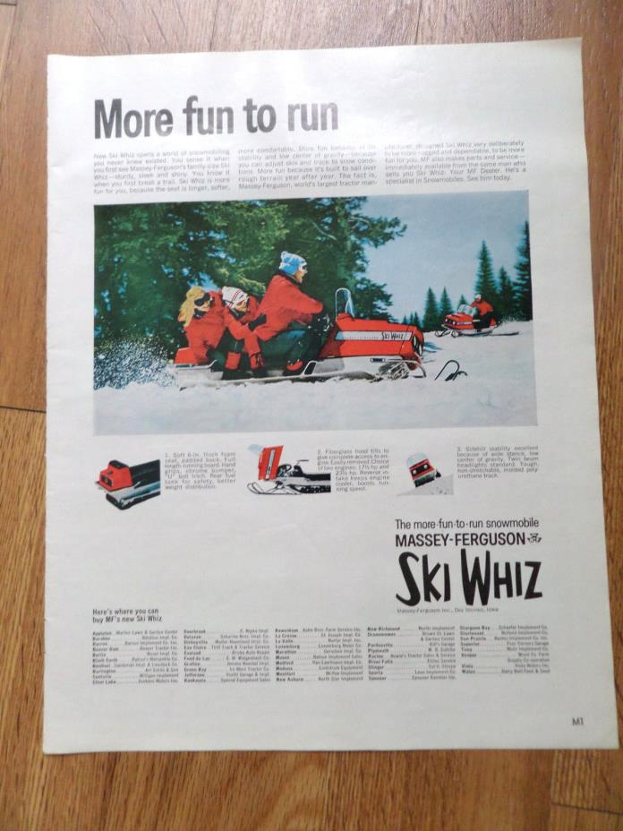 1969 Massey-Ferguson SKI WHIZ Snowmobile Ad