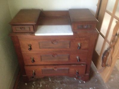 Antique Victorian Marble Top Dresser  with key