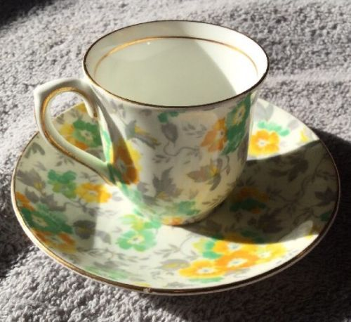 Colclough China Floral Chintz Pattern Bone China Demitasse Cup and Saucer Set