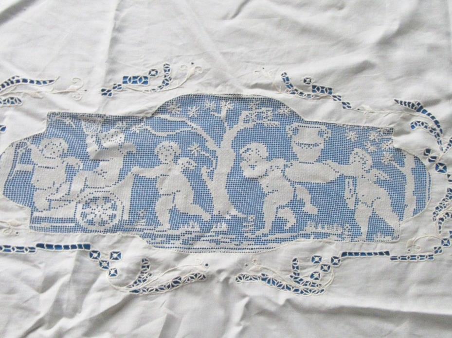 Antique Coverlet Sheet Filet Lace Cherubs Mythology Trosseau Embroidery Wedding