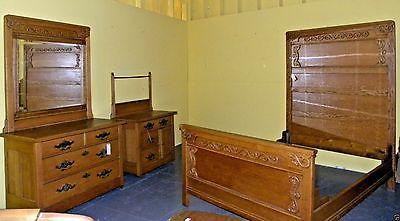 Antique Oak High Back Bedroom Set Vintage Victorian Furniture Home Decor