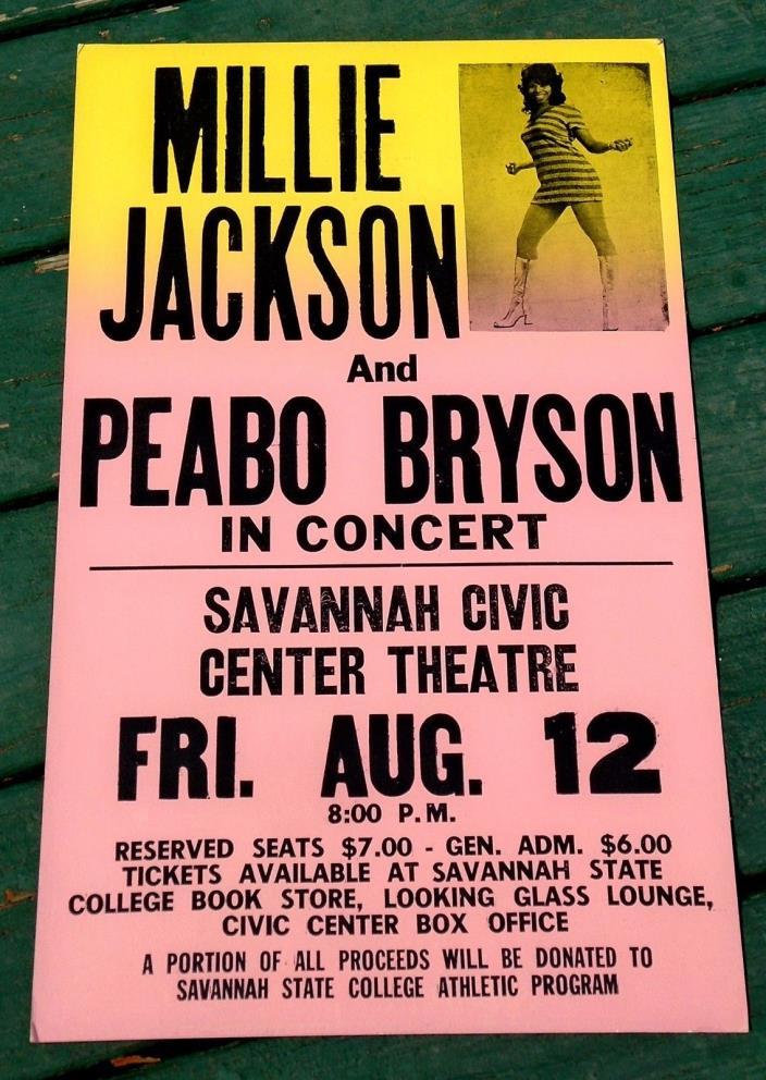 MILLIE JACKSON-PEABO BRYSON RAINBOW SOUL CARDBOARD BOXING STYLE POSTER 1977