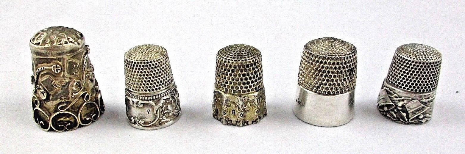5 STERLING SILVER Thimbles LOT Assorted Makers & Sizes