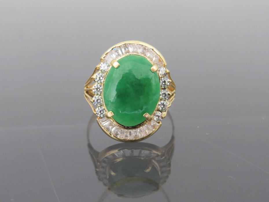 Vintage 18K Solid YG Oval Natural Green Jadeite Jade & White Topaz Ring Sz 9