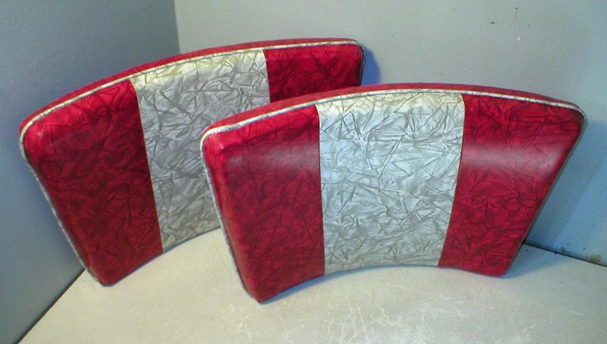 Vintage Pair Retro Kitchen Chair Backs , Gray And Red Vinyl Cover Never Used