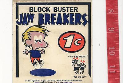 Vintage display  Block Buster Jawbreaker 1c gum machine card FREE SHIPPING