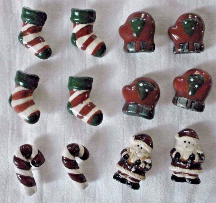 12 Ceramic Buttons Christmas Santas, Candy Canes, Mittens, Stockings