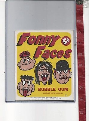 Vintage display 5c FONNY FACES gum machine card FREE SHIPPING