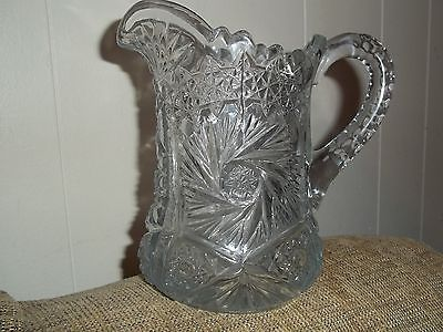 ANTIQUE AMERICAN BRILLIANT ERA  CRYSTAL WATER PITCHER 7 INCH TALL