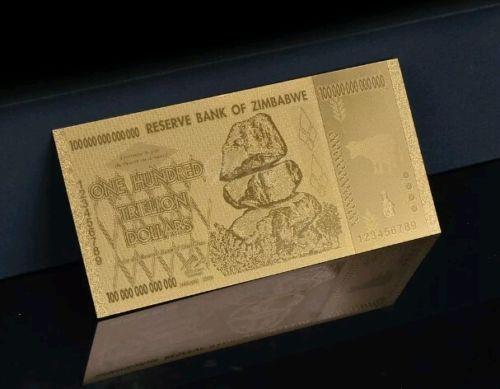 <MINT CONDITION>GOLD 100 TRILLION ZIMBABWE Rep.* Banknote W/ COA~U.S SELLER~