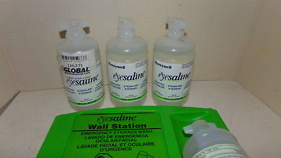 NEW Honeywell Eyesaline Wall Eyewash Station w/ 4-16oz Bottles 32-005696