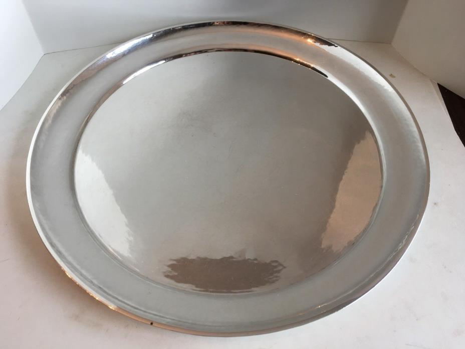 Antique Sterling Silver Georg Jensen Hand Hammered Round Tray 12.25 inch 840 GMS