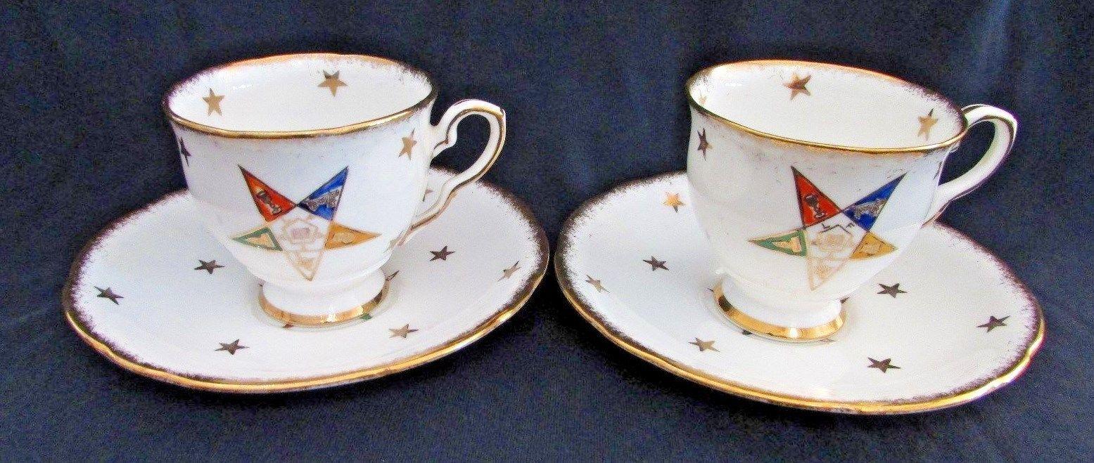 Vintage Eastern Star Masonic Demitasse Cups & Saucers, Royal Stafford, Set of 2