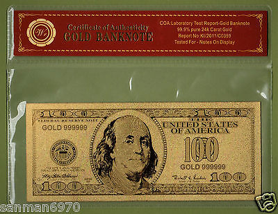 $100 Dollar Bill United States Gold Banknote 24 Kt Gold.999 COMES WITH COA