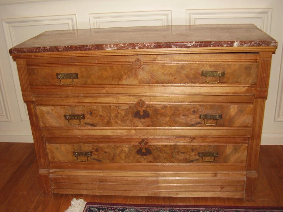 Antique Three Drawer Marble Top Chest