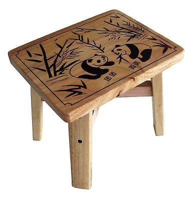 Squared Bamboo Wooden Toddle Engraved Panda Step Stool