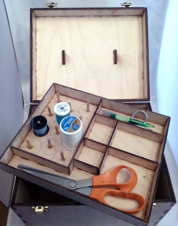 Personalised Wood Sewing Chest Kit With Inner Tray