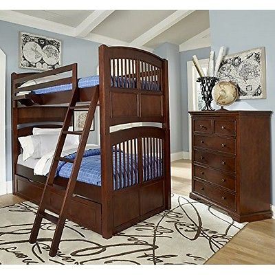 NE Kids 9051NT Walnut Street Hayden Bunk Bed with Trundle-Chestnut-Twin/Twin