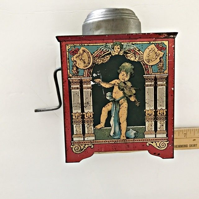ANTIQUE MUSIC BOX HAND CRANK TIN LITHO TOY ORGAN  GERMANY  EARLY 1900'S ASIS B1