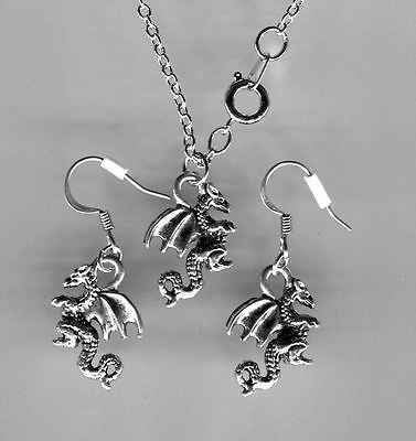 Silver Pewter DRAGON necklace & earrings  NEW  Never Worn Very Nice!!! Cute!!!