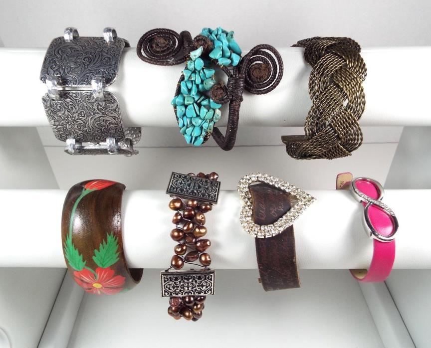 7 Vintage Modern Bracelets Cuff Wrap Wood Metal Rhinestone Beads Estate Lot