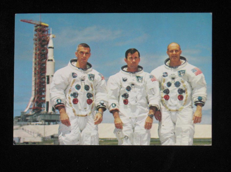 Apollo 10 Astronauts Postcard Cernan Young Stafford at Complex 39B Moon Orbit