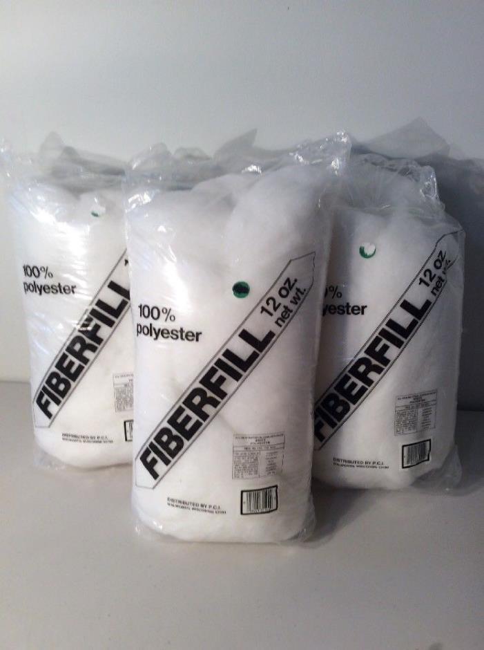 Lot of 3 Polyester Fiberfill 12 oz. bags