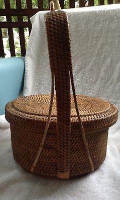 Vintage woven lidded Chinese basket/ ?wedding basket, tea service?