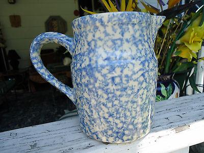 Gerald Henn Roseville Blue Spongeware Pottery 1 Qt. Pitcher
