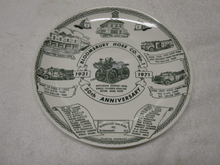 Vintage 1971 BLOOMSBURY NJ Fire House Hose Co # 1 Kettlesprings  N-Mint & RARE!