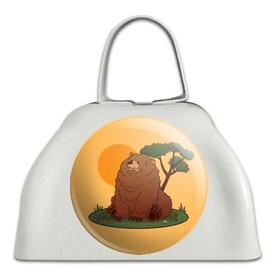 Chubby Grizzly Bear White Metal Cowbell Cow Bell Instrument