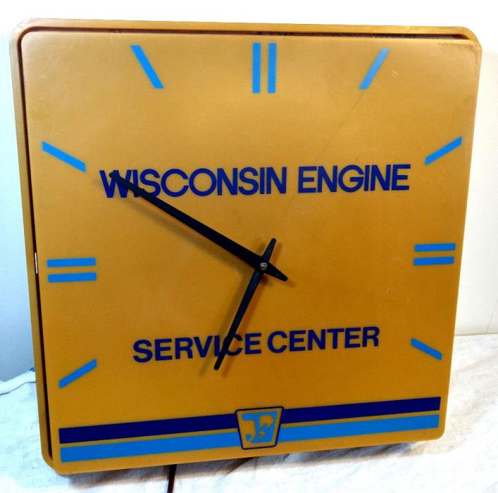 Wisconsin Engine Service Center Station Light Up Plastic Clock Sign Dualite VTG