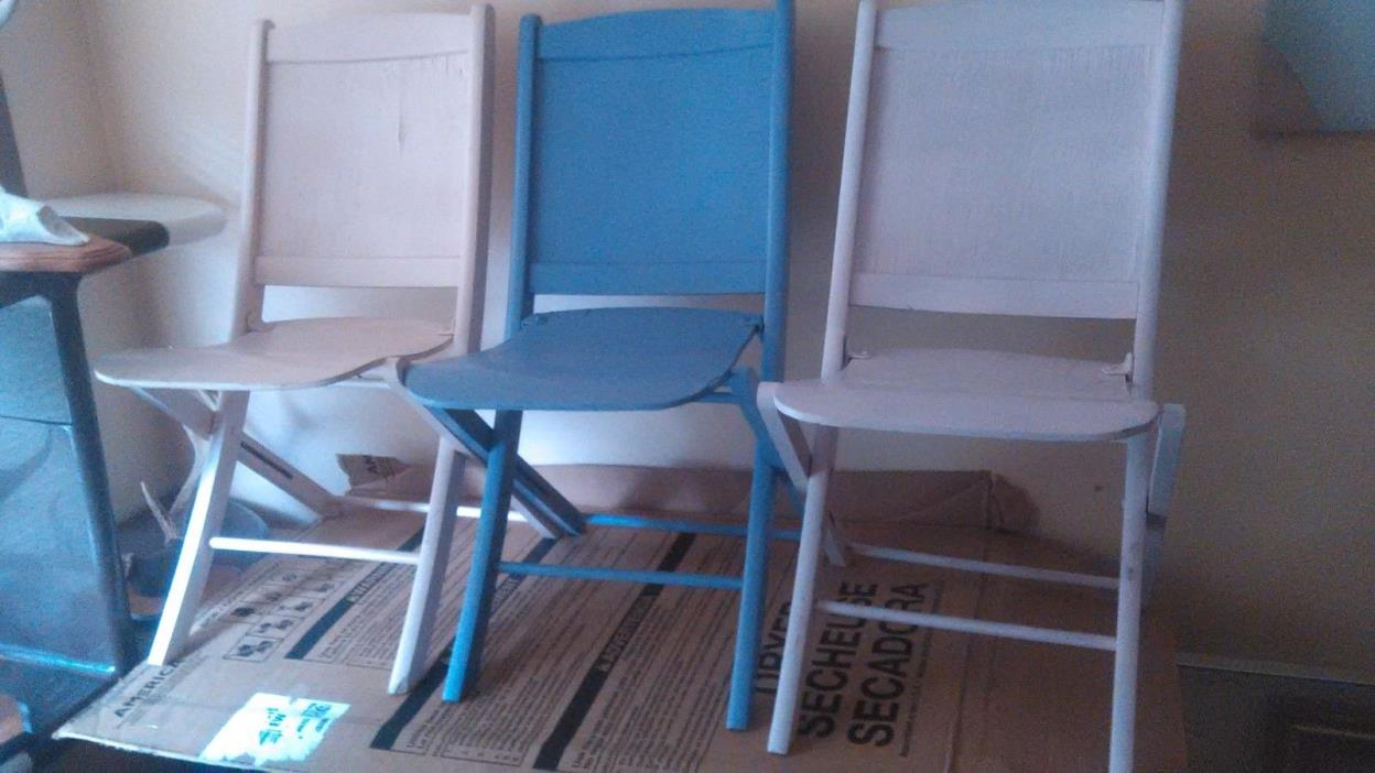VINTAGE US SEATING FOLDING CARD TABLE GAME CHAIR CURVED PLYWOOD DISTRESSED PAINT