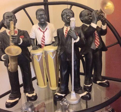 4 PC - JAZZ BAND COLLECTION SINGER SAXOPHONE TRUMPET BONGO DRUM Statues